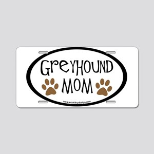 Greyhound Mom Oval Aluminum License Plate