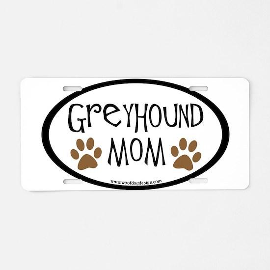 Greyhound Mom Oval Aluminum License Plate
