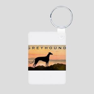 Greyhound Sunset Aluminum Photo Keychain