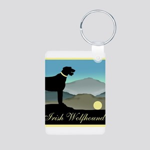 Irish Wolfhound Landscape Aluminum Photo Keychain
