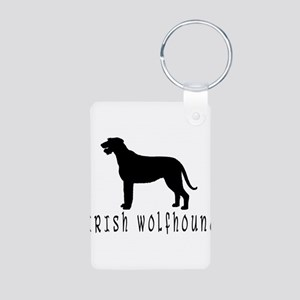 Irish Wolfhound w/ Text #2 Aluminum Photo Keychain