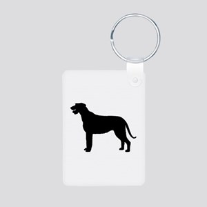 Irish Wolfhound Silhouette Aluminum Photo Keychain