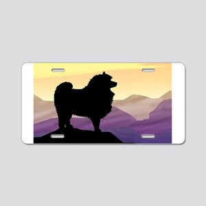 Keeshond Purple Mountain Aluminum License Plate