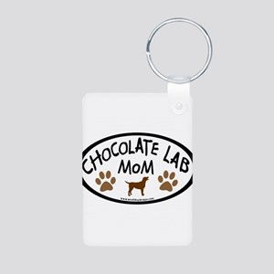 Chocolate Lab Mom Aluminum Photo Keychain