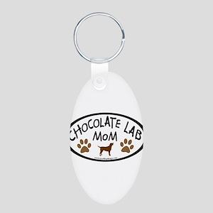 Chocolate Lab Mom Aluminum Oval Keychain