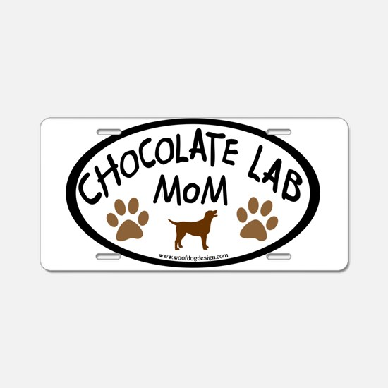 Chocolate Lab Mom Aluminum License Plate