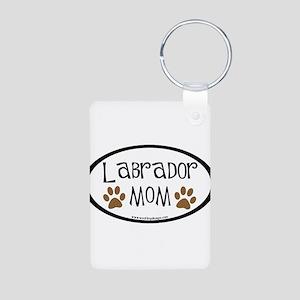 Labrador Mom Oval Aluminum Photo Keychain