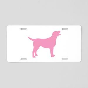 pink labrador retriever Aluminum License Plate