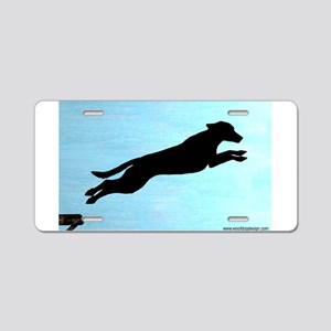 Dock Jumping Labrador Dog Aluminum License Plate