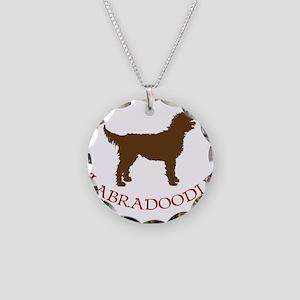 Labradoodle Dog Necklace Circle Charm