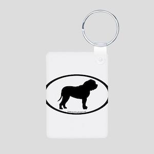Oval Border Mastiff Dog Aluminum Photo Keychain