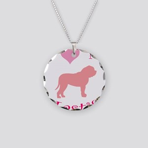 pink heart mastiff Necklace Circle Charm