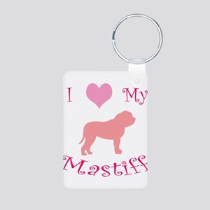 pink heart mastiff Aluminum Photo Keychain