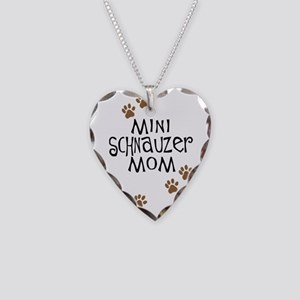 Mini Schnauzer Mom Necklace Heart Charm