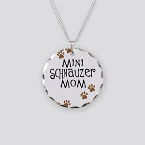 Mini Schnauzer Mom Necklace Circle Charm