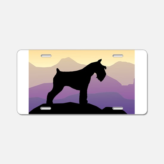 Purple Mt. Mini Schnauzer Aluminum License Plate