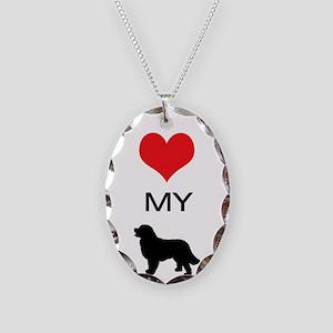 i heart my newfoundland Necklace Oval Charm