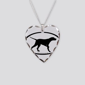Pointer Dog Oval Necklace Heart Charm