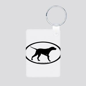 Pointer Dog Oval Aluminum Photo Keychain