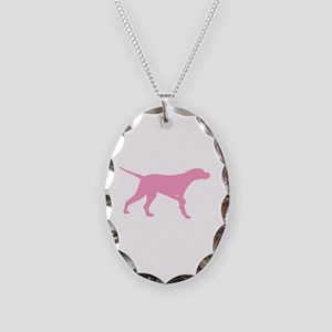 Pink Pointer Dog Necklace Oval Charm