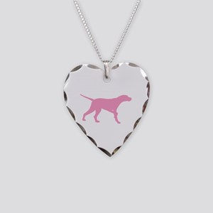 Pink Pointer Dog Necklace Heart Charm