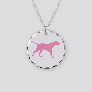 Pink Pointer Dog Necklace Circle Charm
