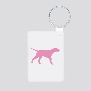 Pink Pointer Dog Aluminum Photo Keychain