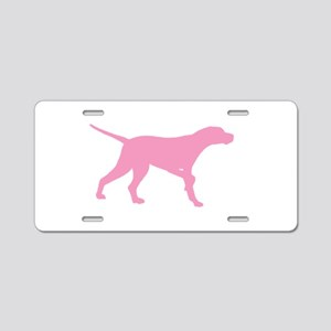 Pink Pointer Dog Aluminum License Plate