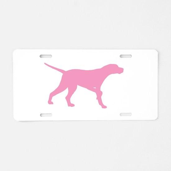Pink Pointer Dog Aluminum License Plate