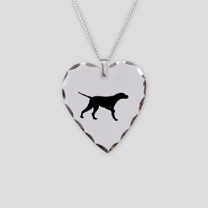 Pointer Dog On Point Necklace Heart Charm