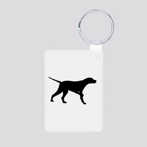 Pointer Dog On Point Aluminum Photo Keychain
