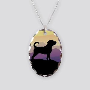 Purple Mountains Puggle Necklace Oval Charm
