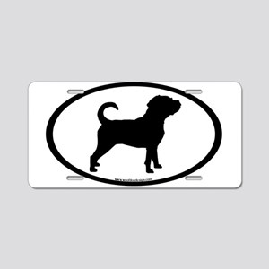 Puggle Dog Oval Aluminum License Plate
