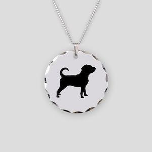 Puggle Dog Necklace Circle Charm