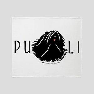 Puli Dog w/ Puli Text Throw Blanket
