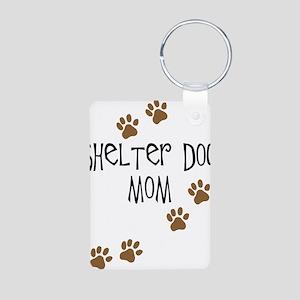Shelter Dog Mom Aluminum Photo Keychain
