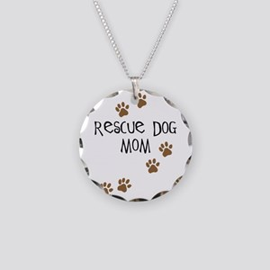 Rescue Dog Mom Necklace Circle Charm