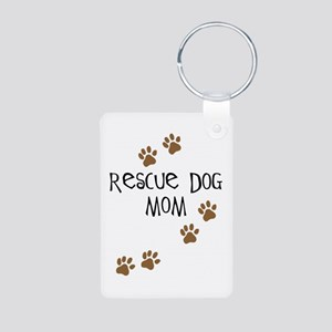 Rescue Dog Mom Aluminum Photo Keychain