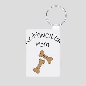 Biscuits Rottweiler Mom Aluminum Photo Keychain