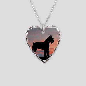 Schnauzer Sunset Necklace Heart Charm