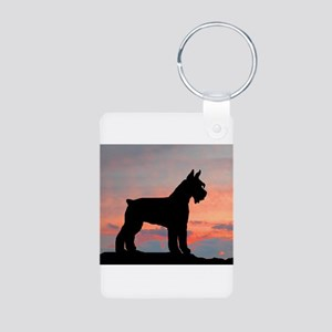 Schnauzer Sunset Aluminum Photo Keychain