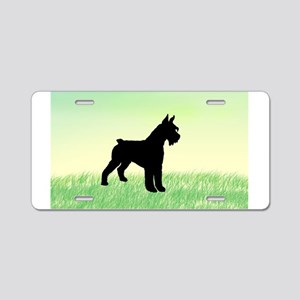 Grassy Field Schnauzer Dog Aluminum License Plate