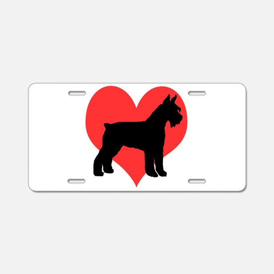 Red Heart Schnauzer Aluminum License Plate