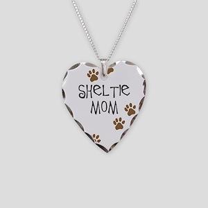 Sheltie Mom Necklace Heart Charm