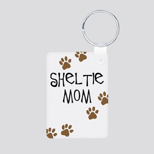 Sheltie Mom Aluminum Photo Keychain