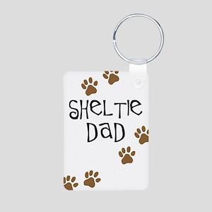 Sheltie Dad Aluminum Photo Keychain