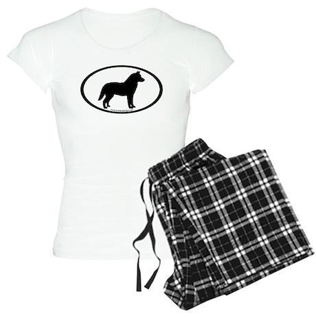 Siberian Husky Dog Oval Women's Light Pajamas