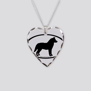 Siberian Husky Dog Oval Necklace Heart Charm