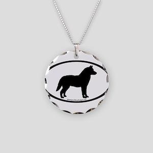 Siberian Husky Dog Oval Necklace Circle Charm