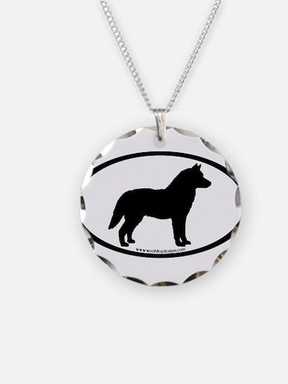 Siberian Husky Dog Oval Necklace